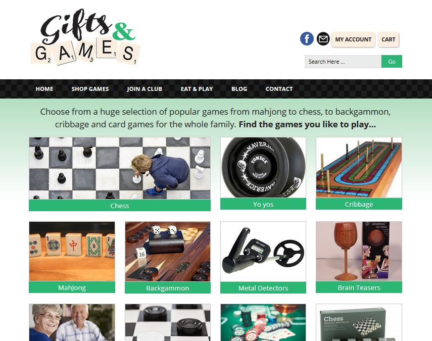 games website homepage