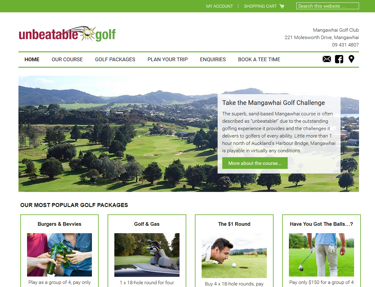 Golf Website with E-Commerce
