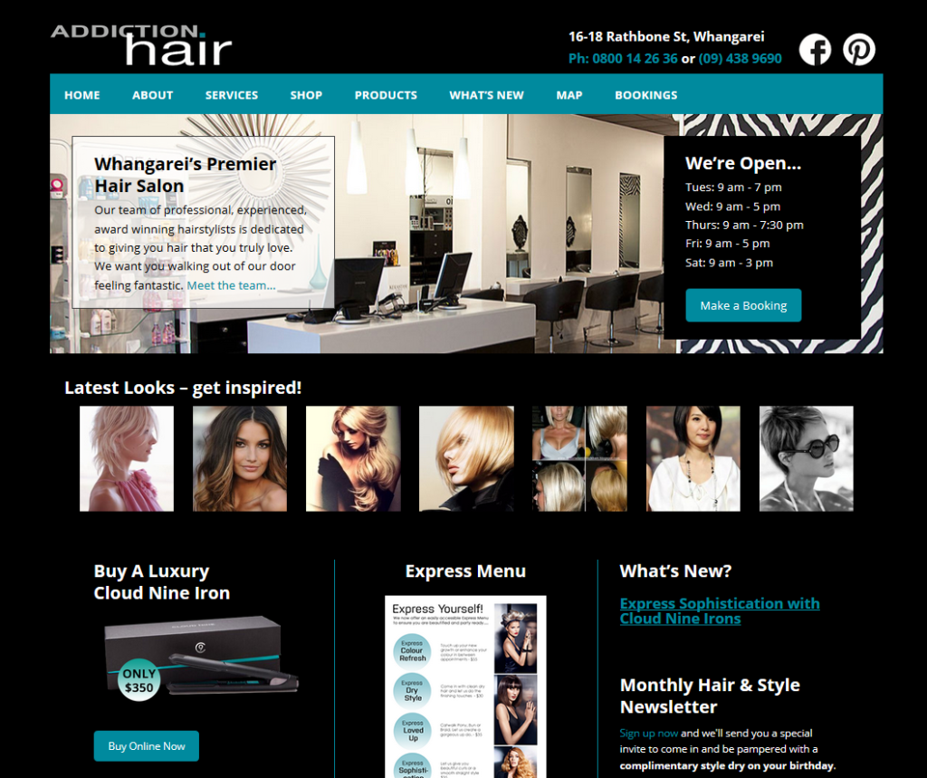 addiction hair e-commerce website homepage