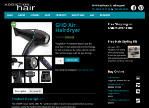 addiction hair e-commerce website product page