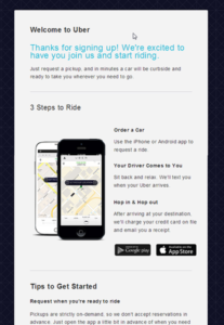 automated email welcome from Uber