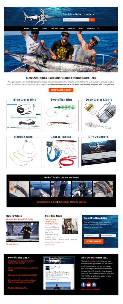 SwordPro Game fishing website redesign