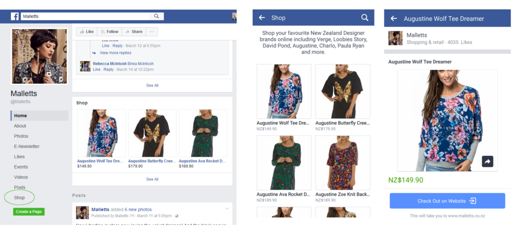 facebook shop viewed on a desktop and mobile phone