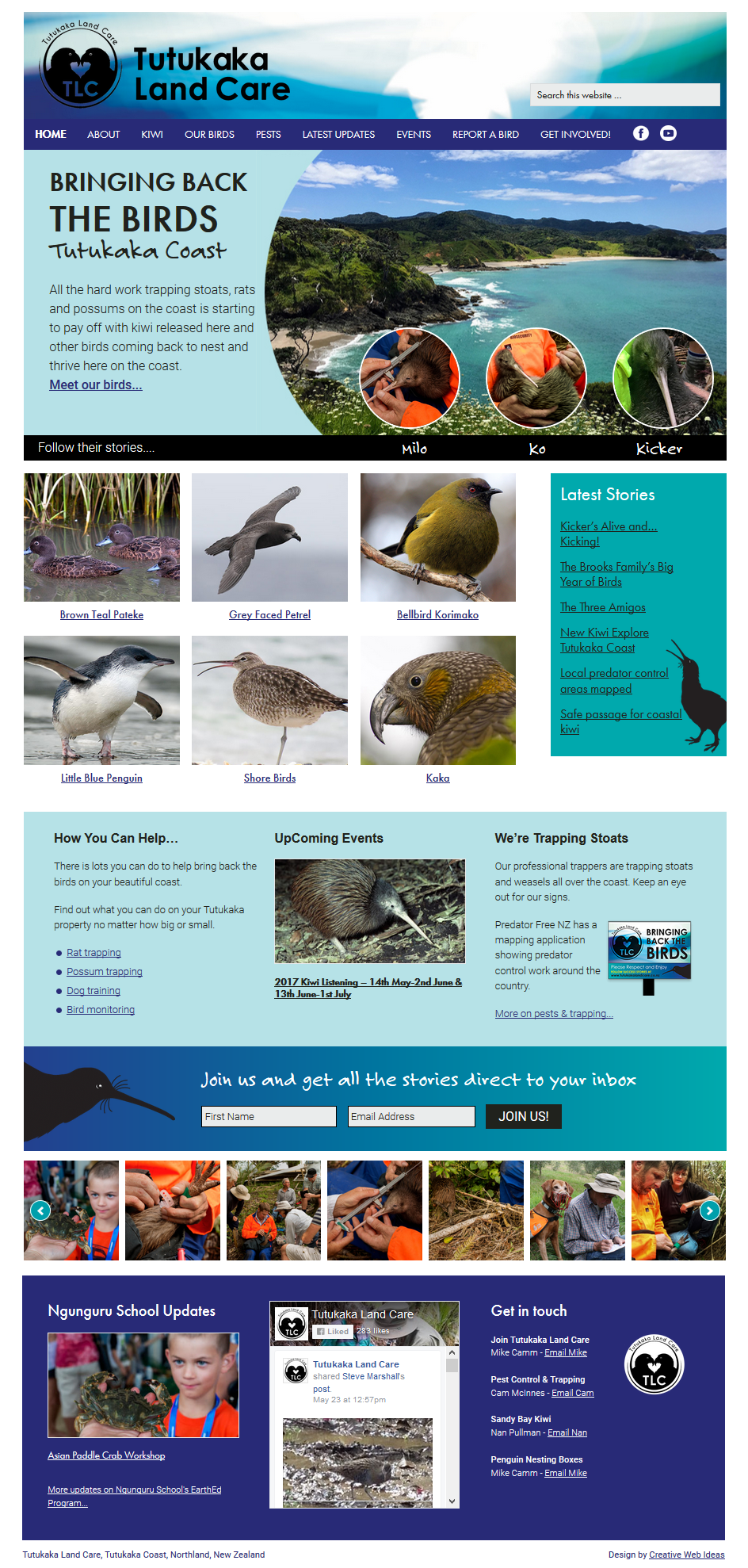 Tutukaka Land Care website homepage designed by Creative Web Ideas in Whangarei