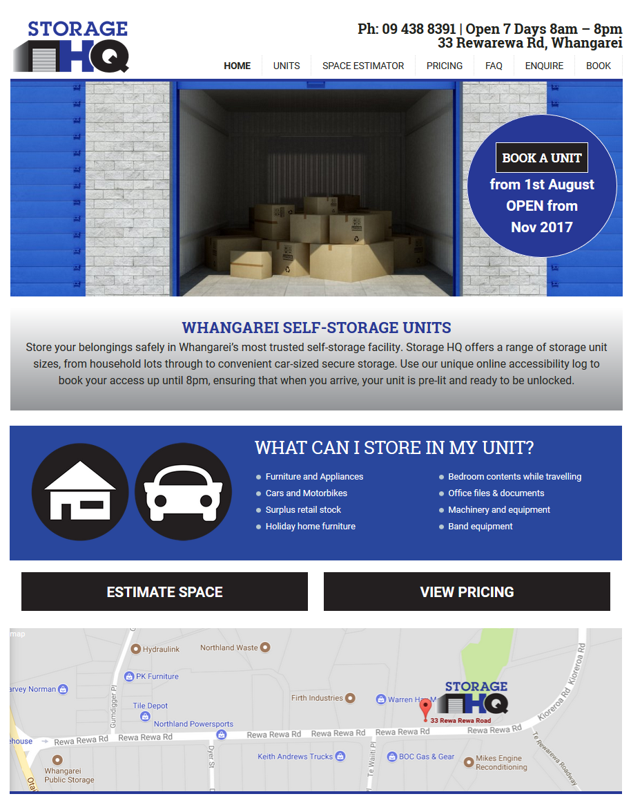 storage website designed by Creative Web Ideas in Whangarei