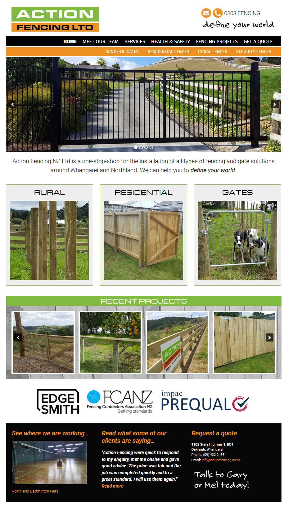 Action Fencing website design