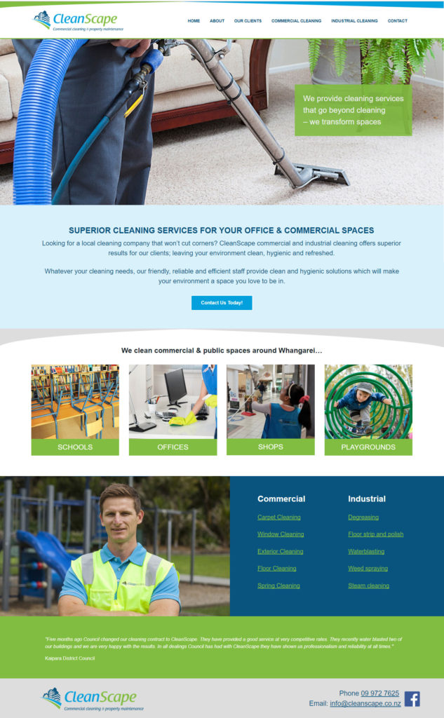 Whangarei cleaning website design by Creative Web Ideas
