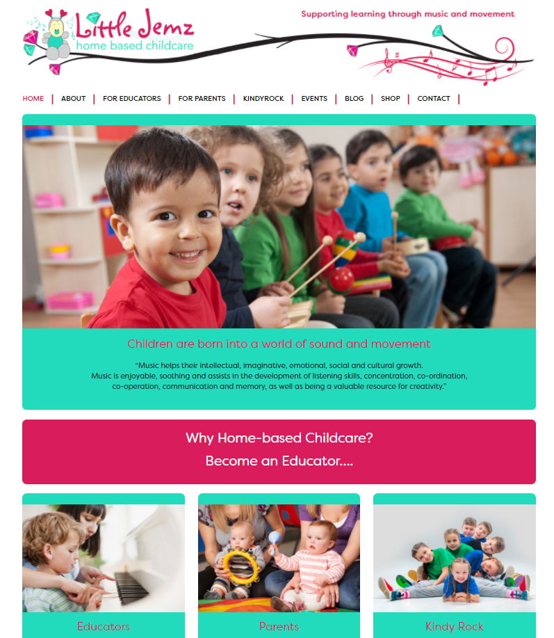 childcare website designed for Little Jemz