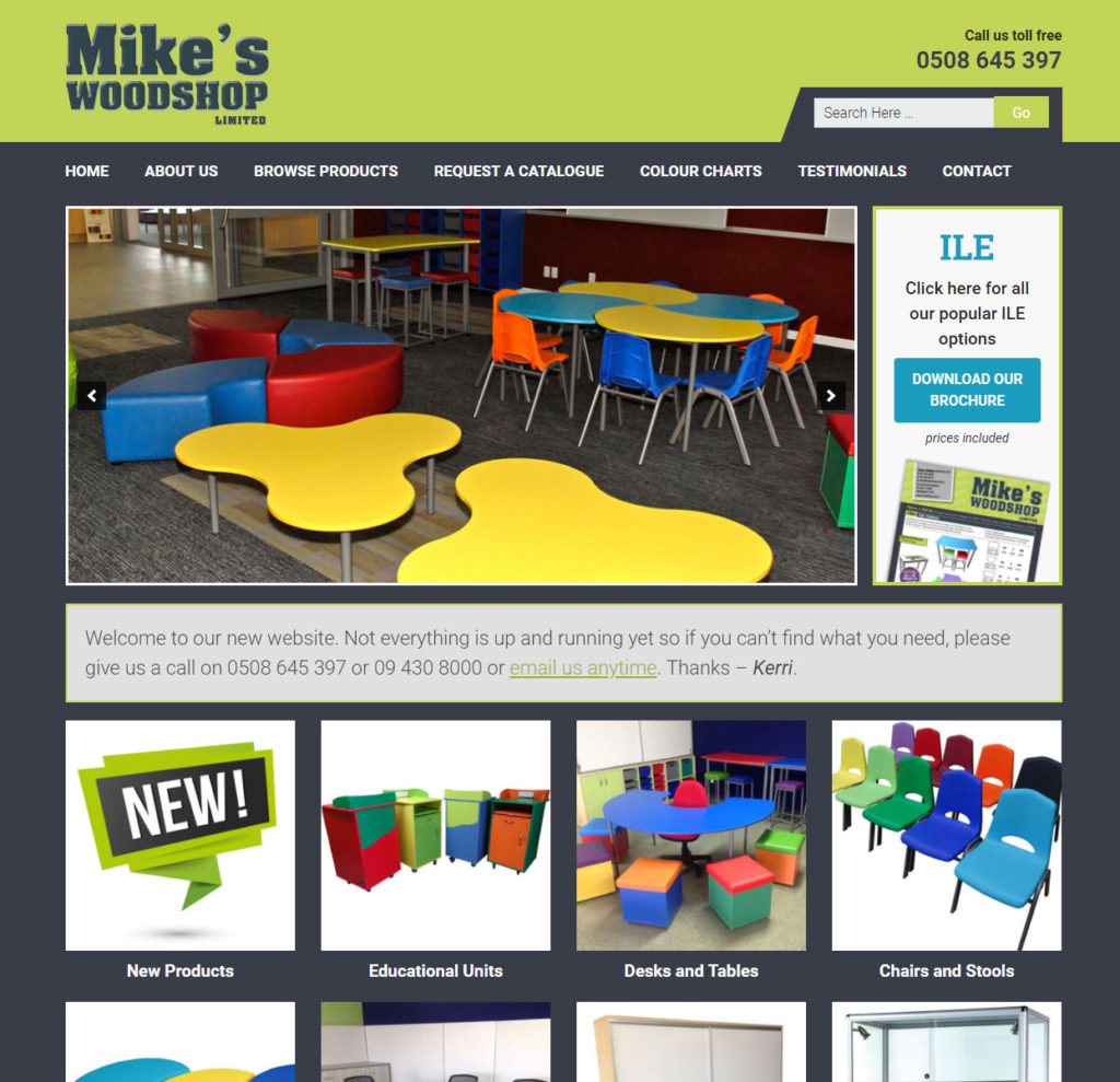 Manufacturing website designed for Mike's Woodshop