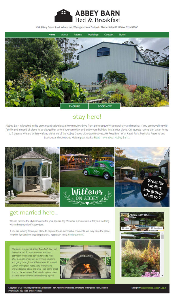 Abbey Barn BnB Website, Whangarei